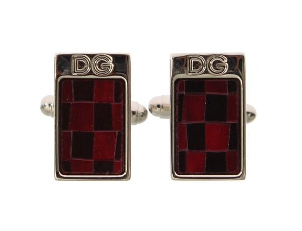 Silver Brass Black Red Stone Cufflinks
