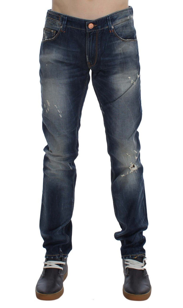Blue Wash Torn Cotton Slim Skinny Fit Jeans