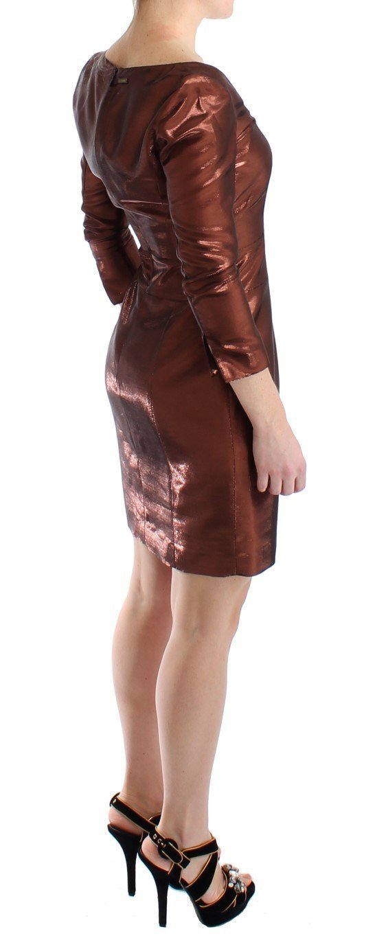 Bronze Longsleeved Shift Sheath Dress