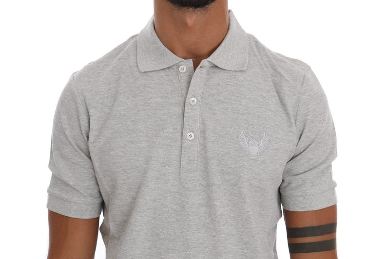 Gray Cotton Stretch Polo T-shirt