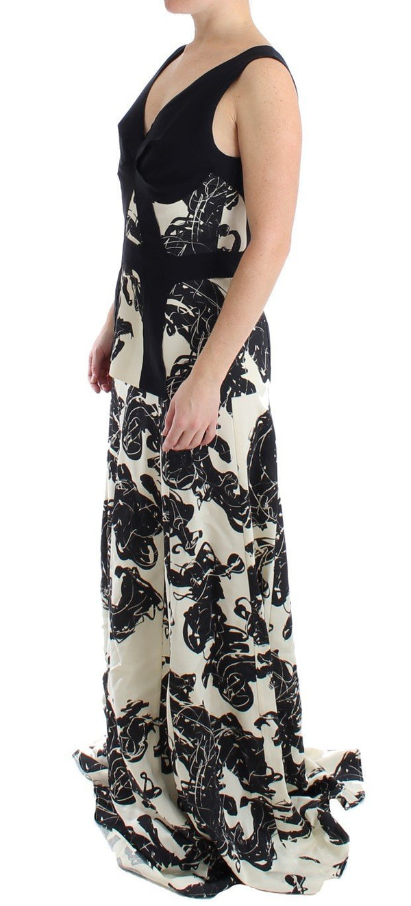 Black White Long Printed Gown Dress