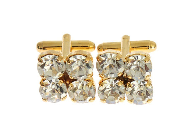 Clear Crystal Gold Brass Cufflinks