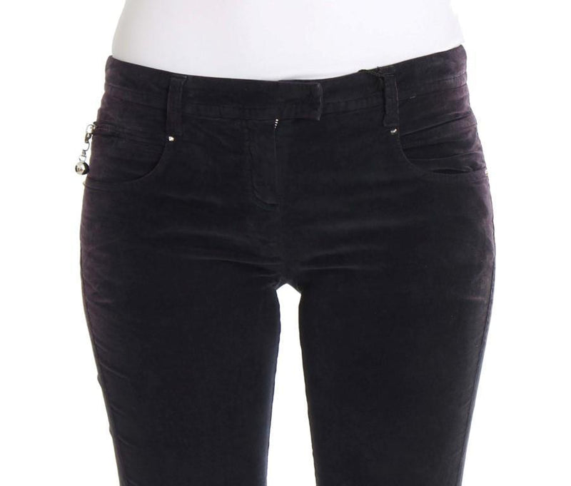 Purple Cropped Corduroys Jeans