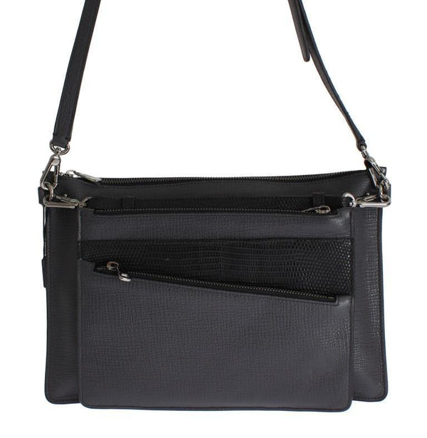 Gray Lizard Leather Shoulder Cross Body Handbag