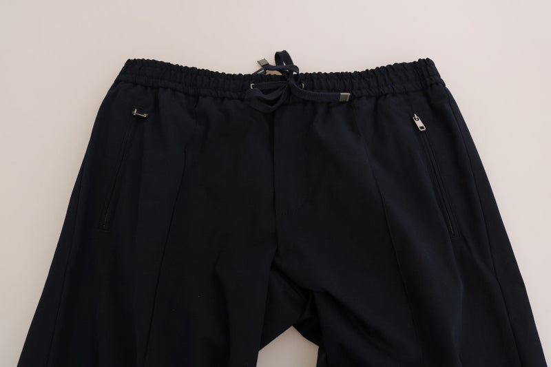 Black Cotton Casual Pants