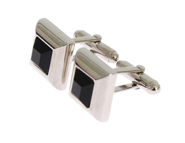 Silver Brass Black Stone Cufflinks