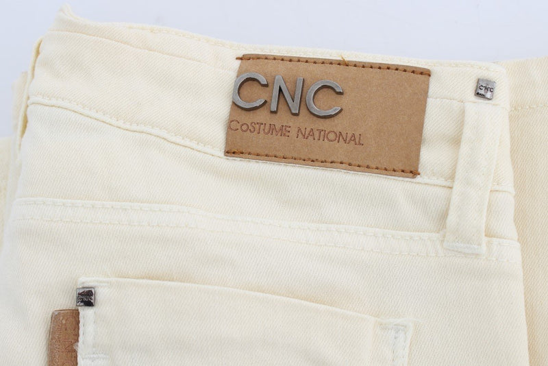 White Cotton Stretch Flare Jeans