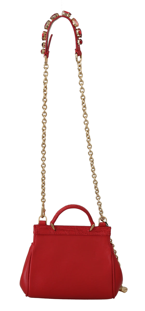 Red MISS SICILY Crocodile Crystal Mini Shoulder Hand