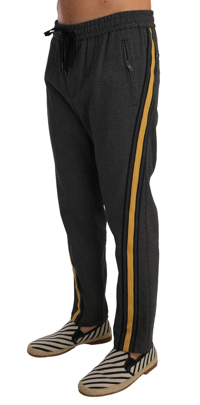 Gray Wool Casual Yellow Strip Pants