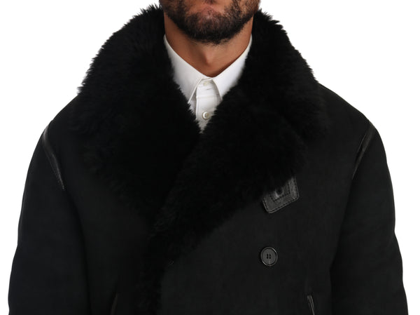 Black Lambskin Fur Pea Coat Jacket