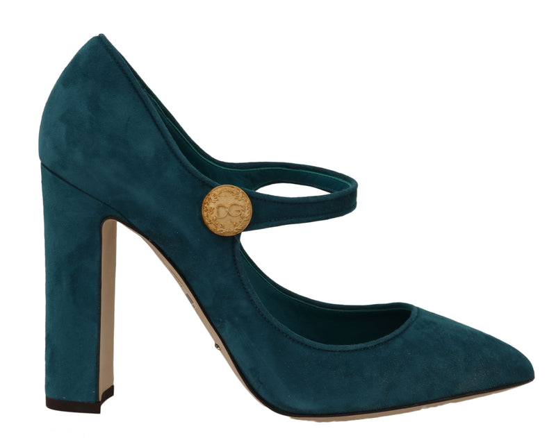 Blue Suede Leather Mary Jane Pumps
