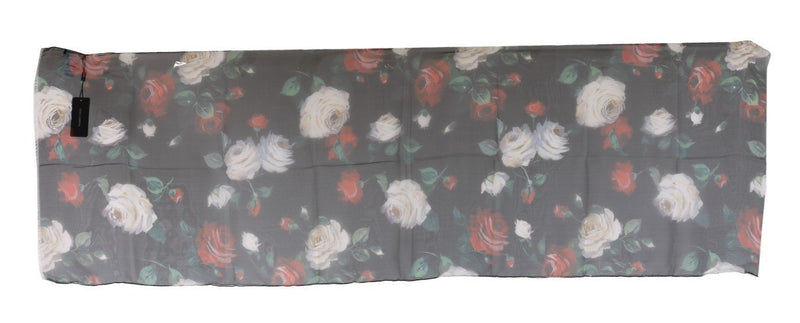 Red Roses Silk Floral Print Scarf