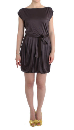 Brown Mini Jersey Shift Belted Dress