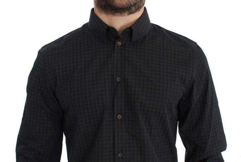 Brown Blue Checkered GOLD Slim Fit Casual Shirt