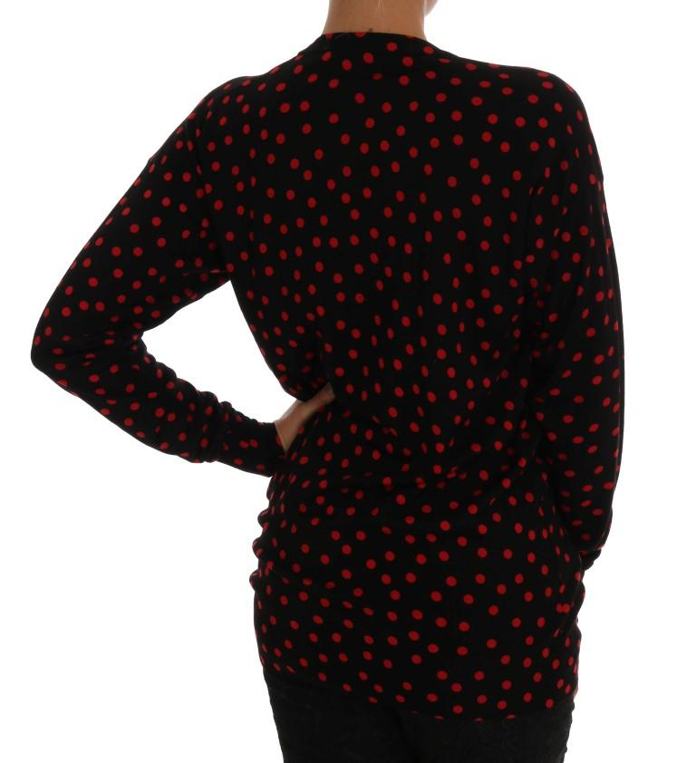 Black Wool Polka Dot Pullover Sweater