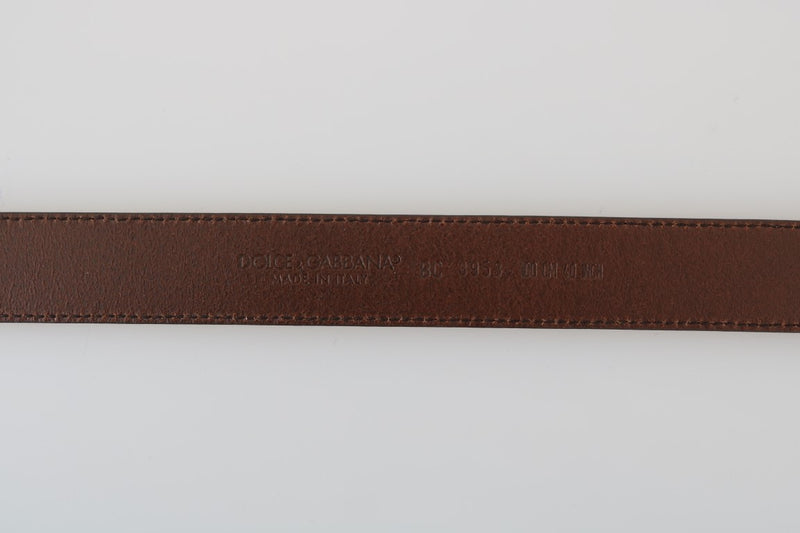 Brown Leather Gray Vintage Buckle Belt