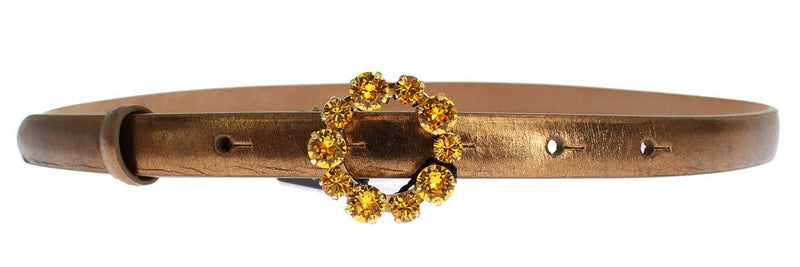Gold Leather Yellow Crystals Buckle Belt