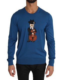 Blue Wool Musician Applique Pullover Sweater