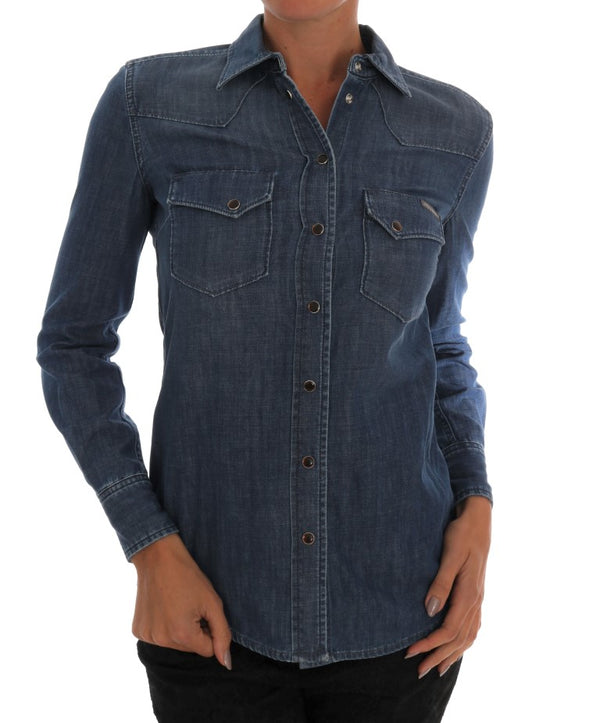 Blue Cotton Jeans Slim Fit Denim Shirt