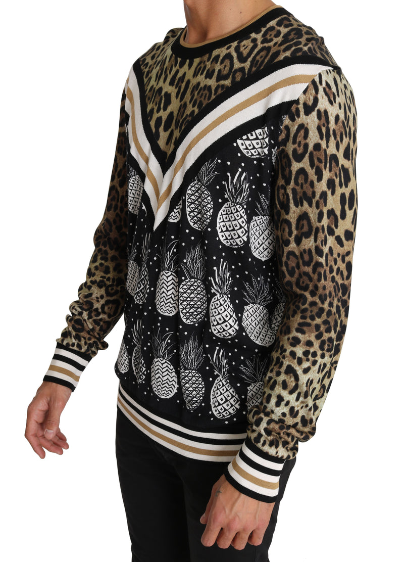 Black Brown Leopard Pineapple Silk Sweater