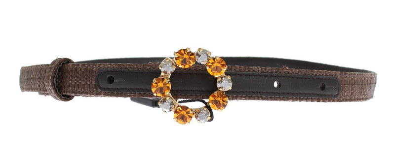 Brown Straw Leather Crystal Buckle Belt