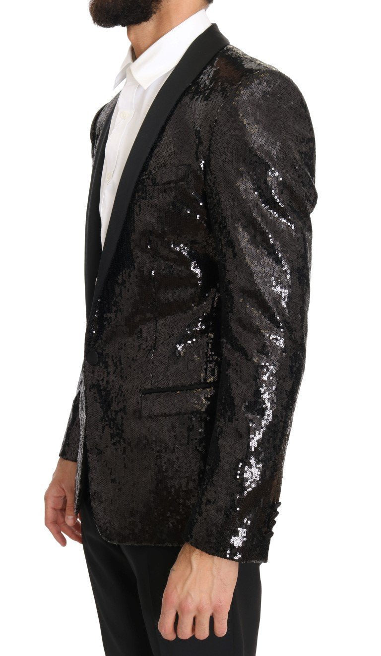 Black Sequined Slim MARTINI Blazer