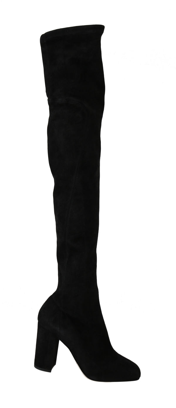 Black Solid Suede Over Knee Boots