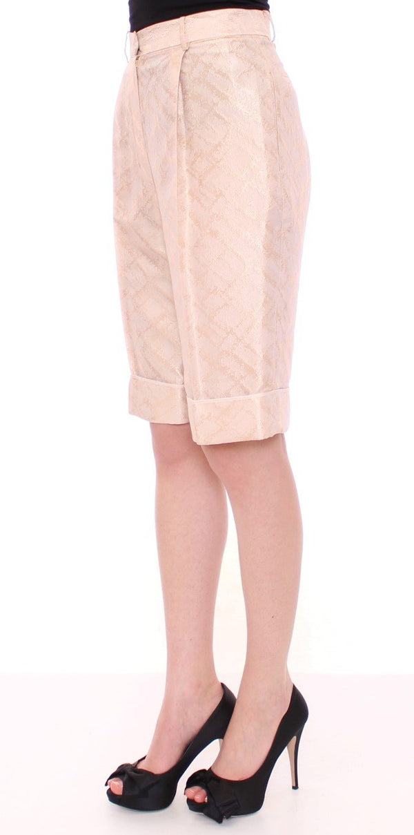 Beige Brocade Above Knee Shorts