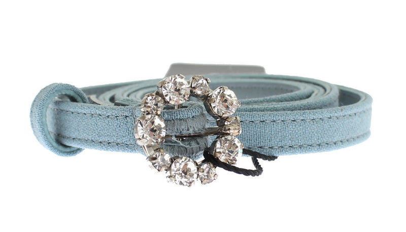 Blue Cotton Leather Crystal Buckle Belt