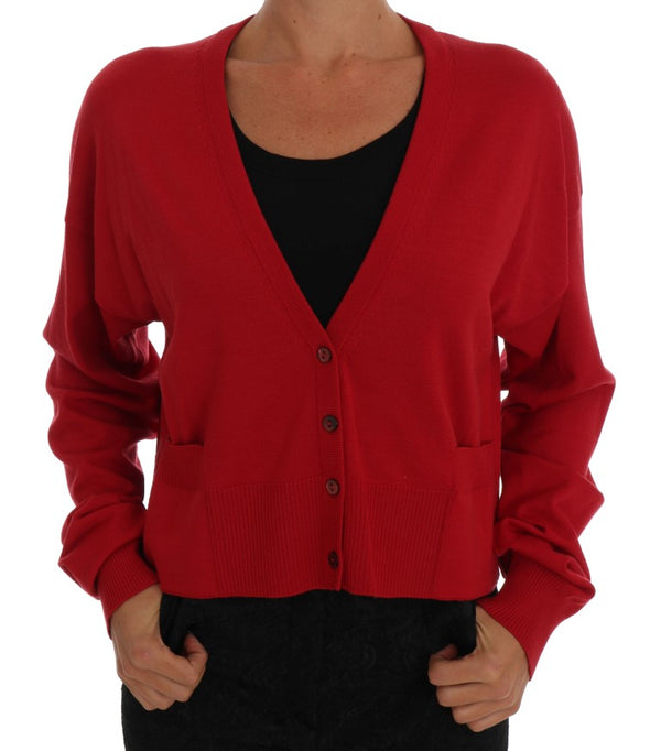 Red Wool Knit Cardigan Sweater