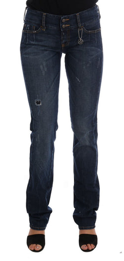Blue Cotton Slim Fit Stretch Denim Jeans