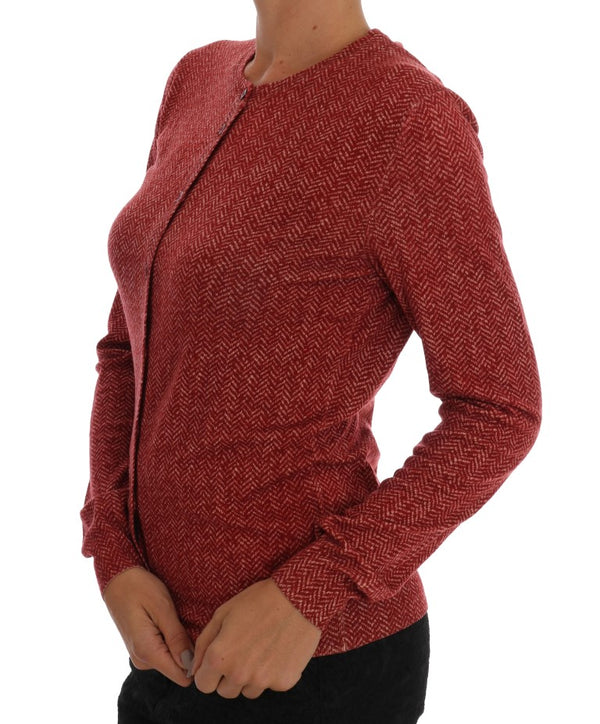Red Wool Top Cardigan Sweater