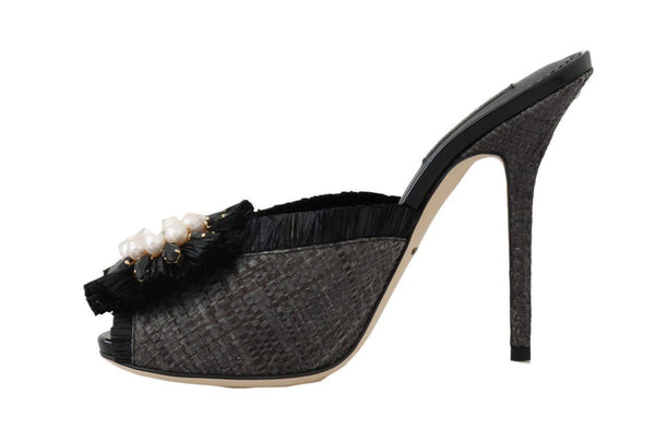 Black Straw Open Toes Crystal Sandals