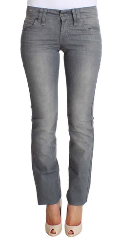 Gray Regular Fit Cotton Stretch Denim Jeans
