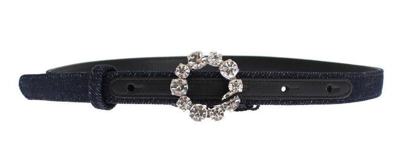 Blue Denim Leather Crystal Buckle Belt