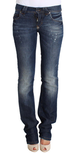 Blue Wash Flare Boot Cotton Lenin Denim Jeans