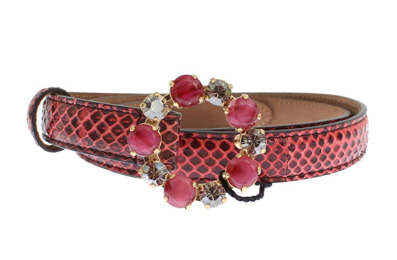 Red Snakeskin Crystal Buckle Belt