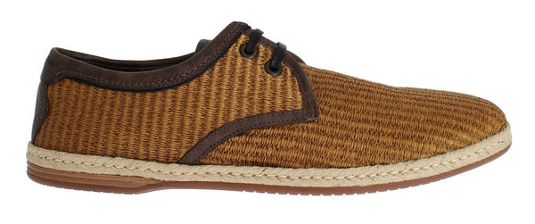 Brown Woven Raffia Leather Laceup Shoes