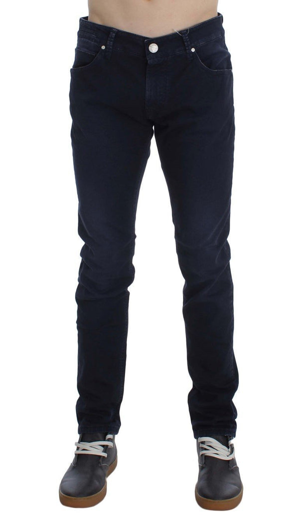 Dark Blue Cotton Stretch Slim Skinny Fit Jeans