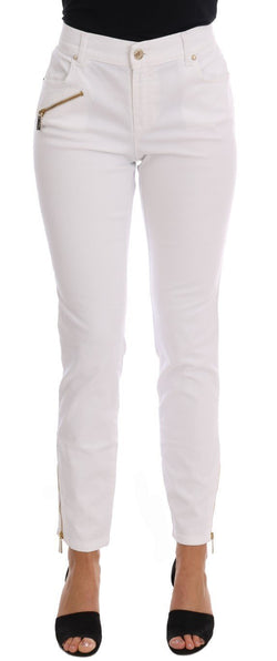 White Cotton Stretch Skinny Slim Fit Jeans