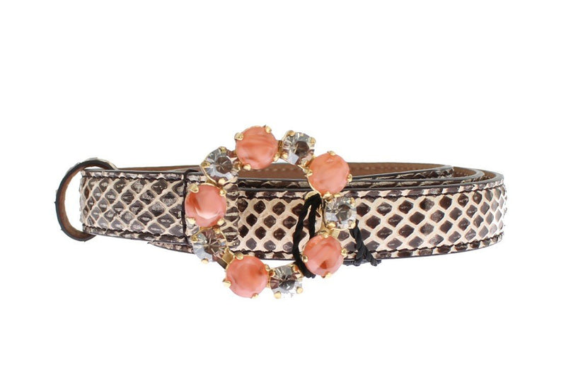 Gray Snakeskin Crystal Buckle Belt