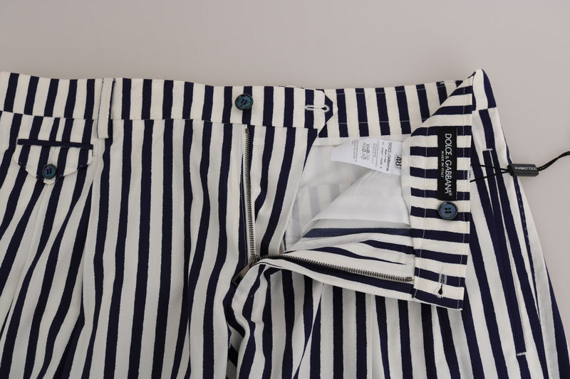 Blue White Striped Cotton Shorts