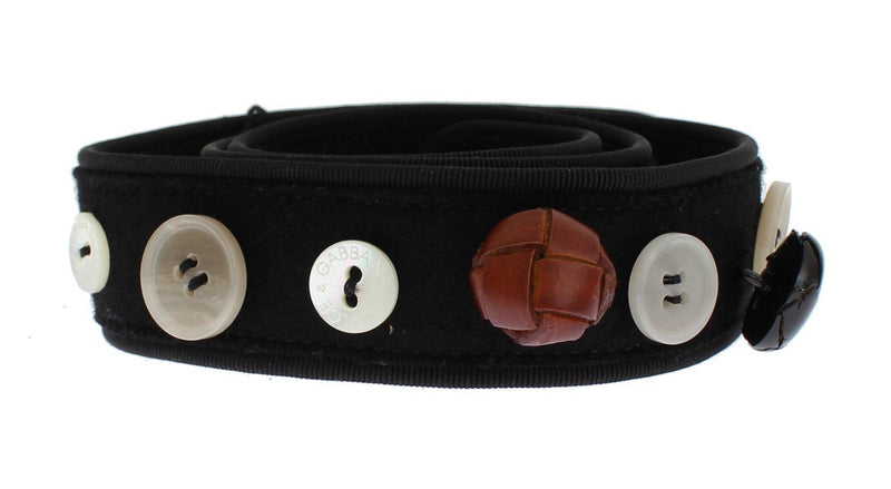 Black Viscose Wool Button Waist Belt