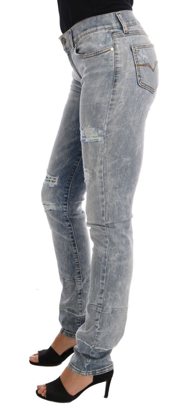 Blue Wash Torn Stretch Slim Fit Jeans