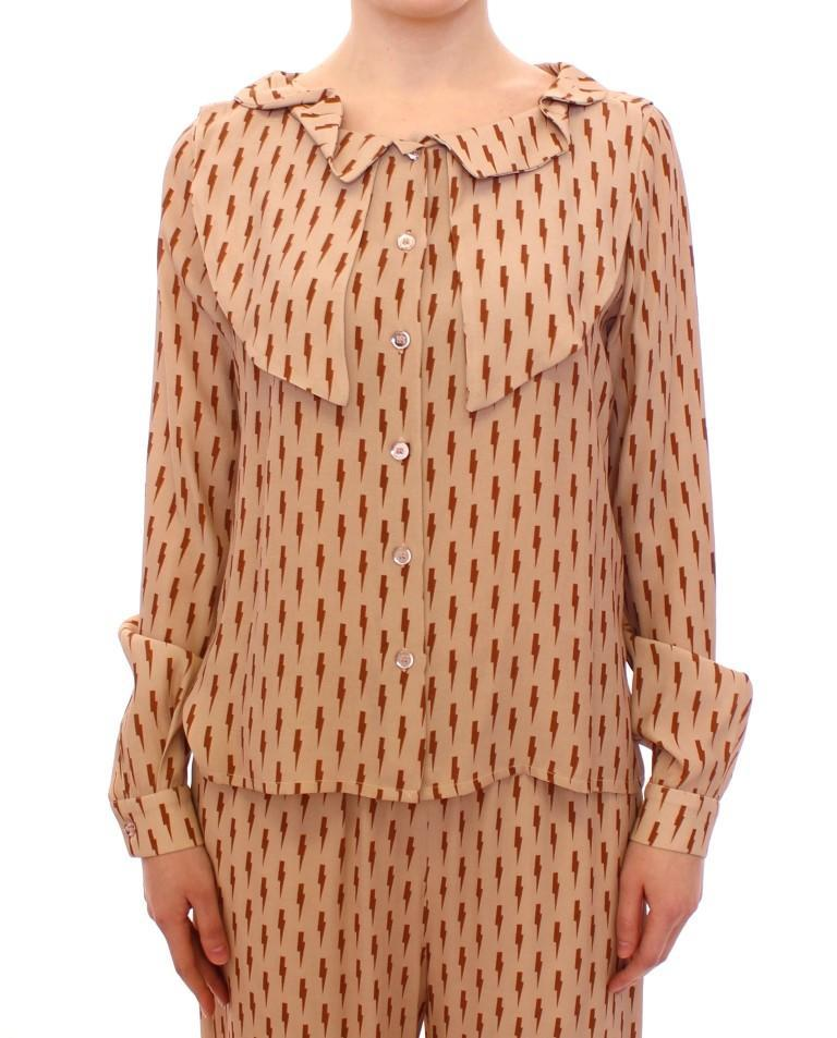 Pink Long Sleeve Button Front Blouse Shirt