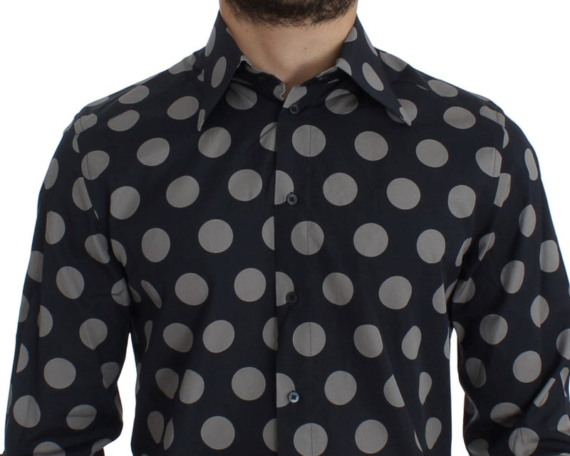 Blue Gray Polka Slim Fit GOLD Mens Shirt