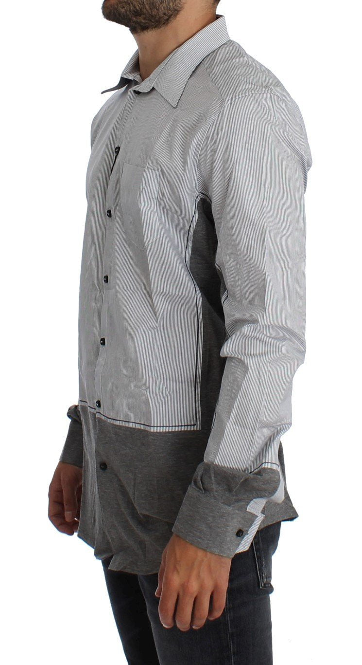 Gray Striped Slim Fit GOLD Casual Shirt