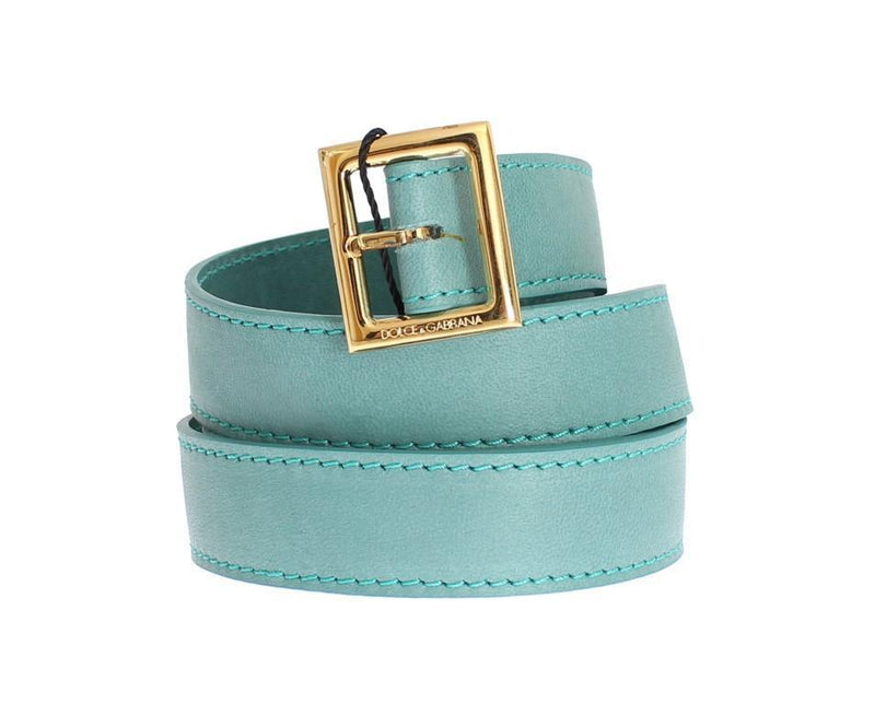 Green Leather Gold Buckle Logo Belt