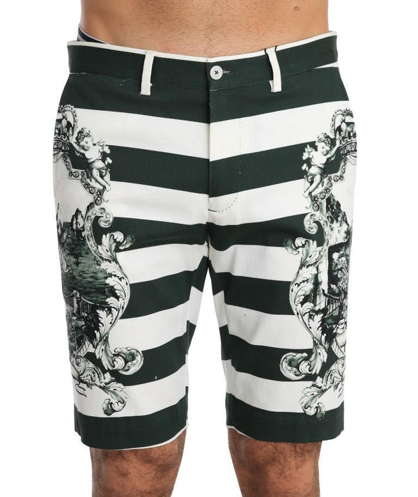 White Green Striped Cotton Shorts