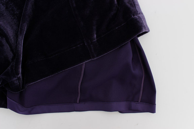 Purple Velvet Sheath Dress & Sweater Set